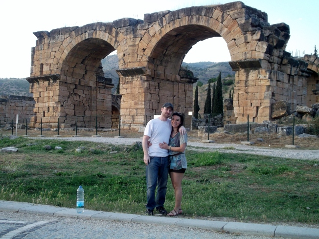 The ruins of Hierapolis in the background.