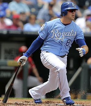 Mike Moustakas, pulling the ball to right